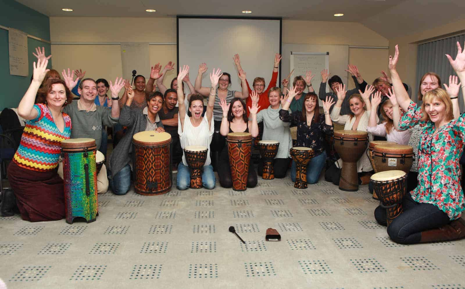 Team building drumming session